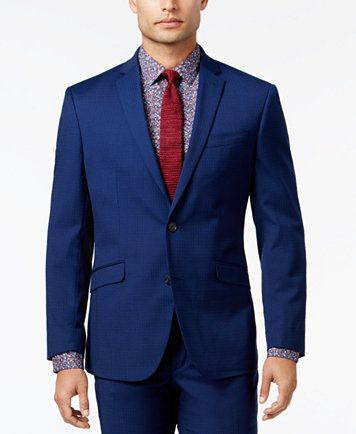 Kenneth Cole Reaction Men's Slim-Fit Bright Blue Mini-Check Suit | macys.