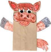 paper bag donkey puppet; day 2