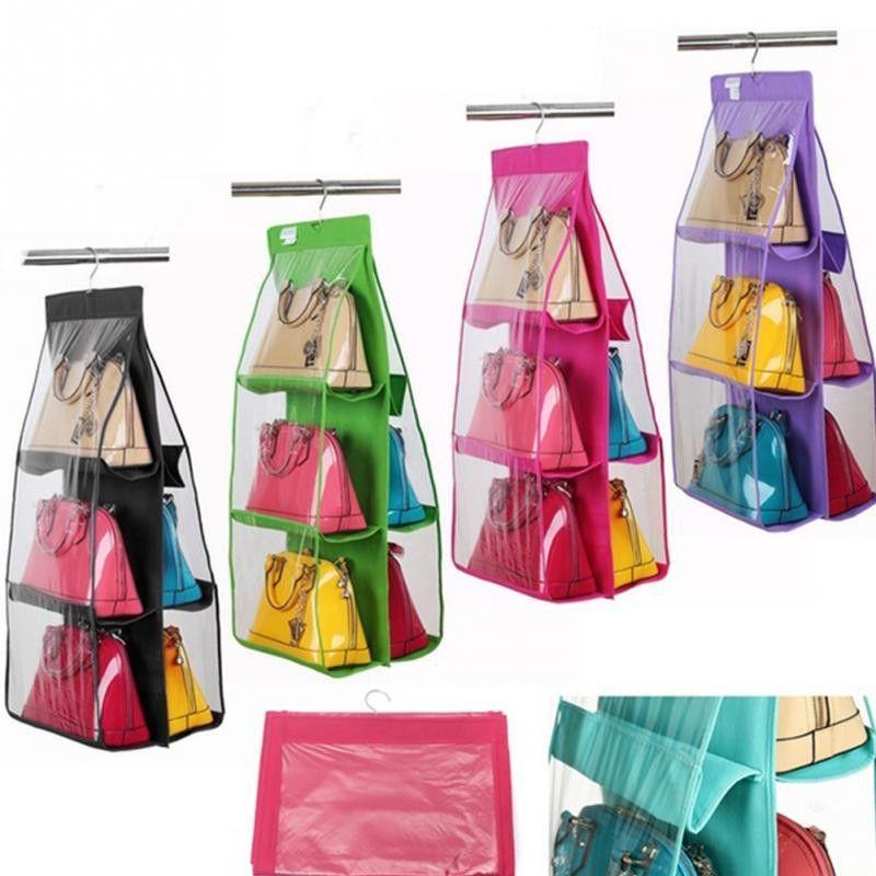 6 Pocket Clear Hanging Purse Handbag Tote Bag Storage Tidy Organizer Closet Rack