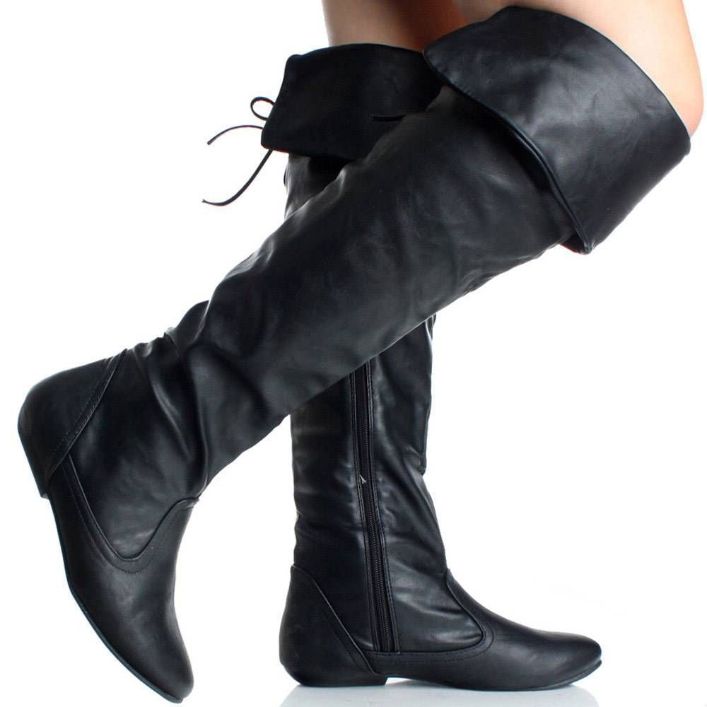 Ladies Tall Over The Knee Thigh High Flat Block Heel Biker Riding Stretch Boots