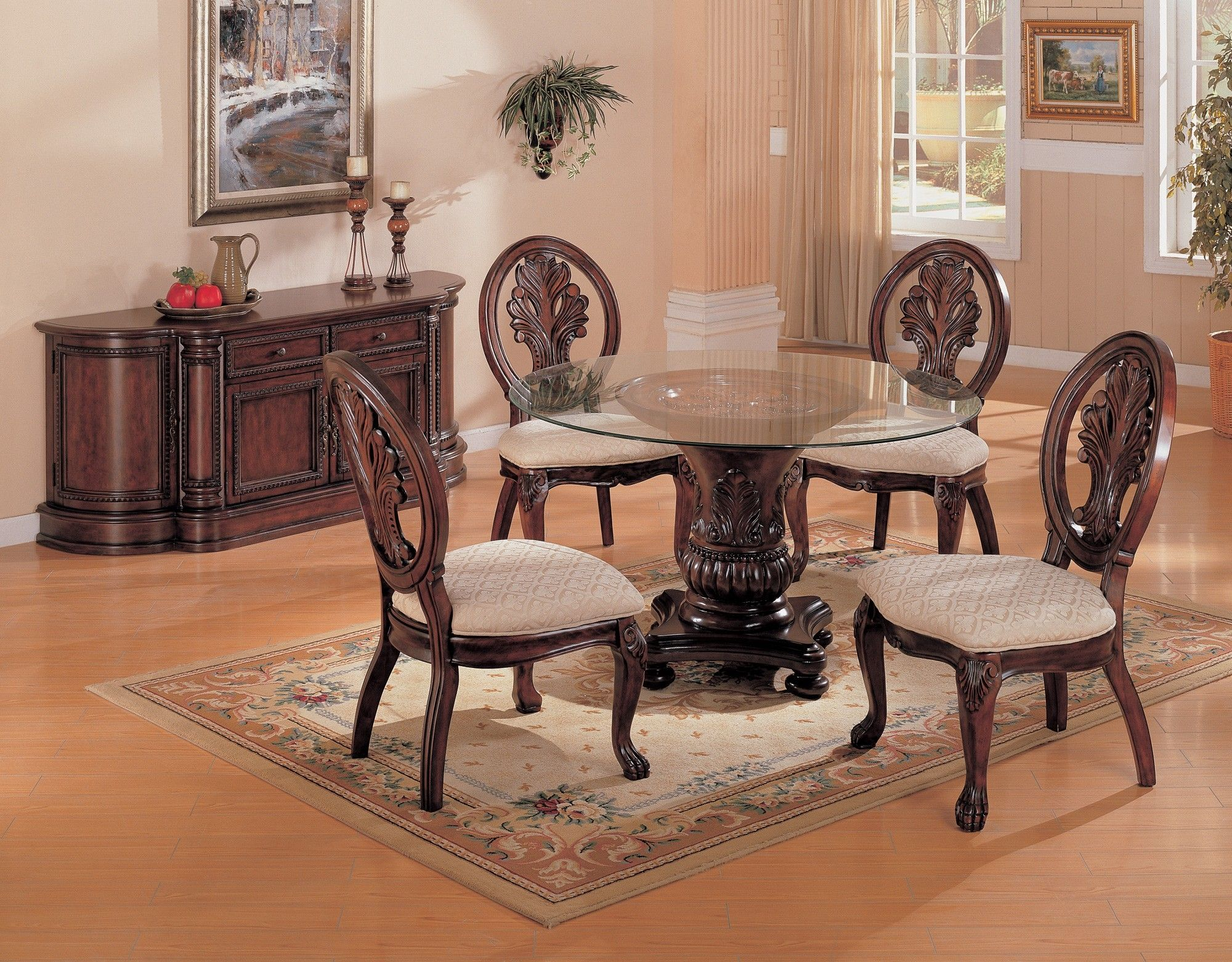 48 Round Glass Dining Table Set