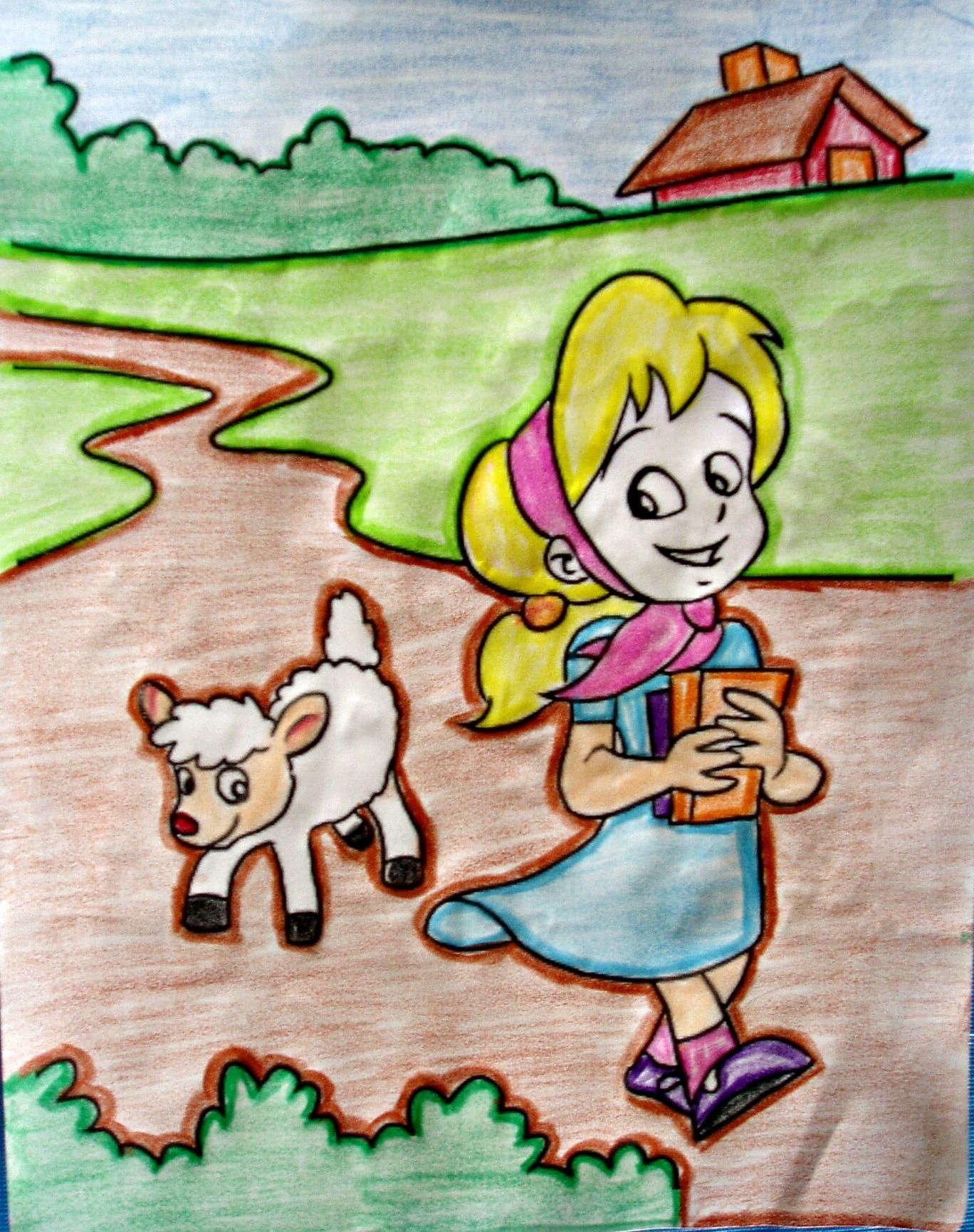 Nursery Rhyme Coloring Page. Mary Had a Little Lamb is | Preschool ...