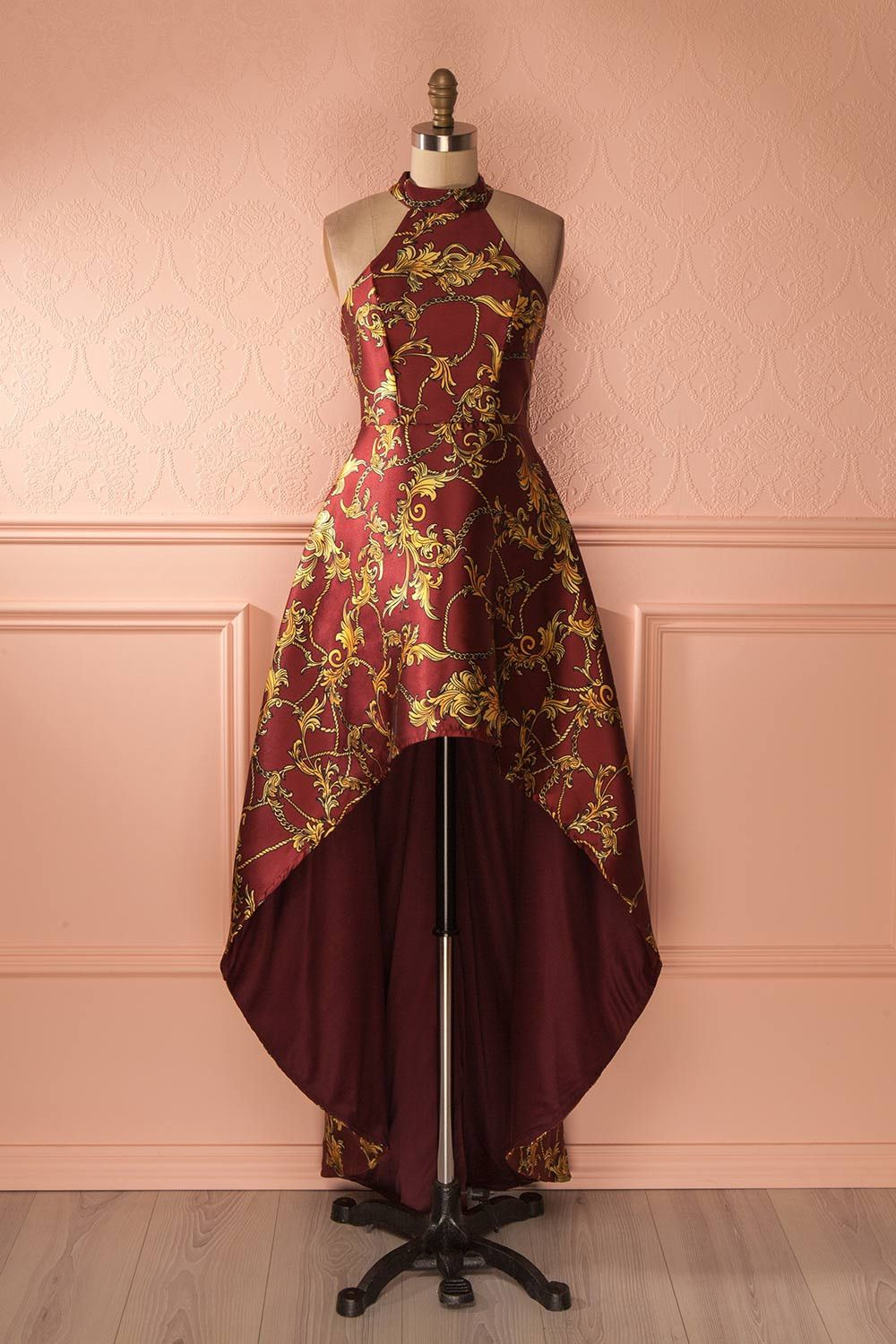 Nargis Burgundy Boutique High Low And Robe