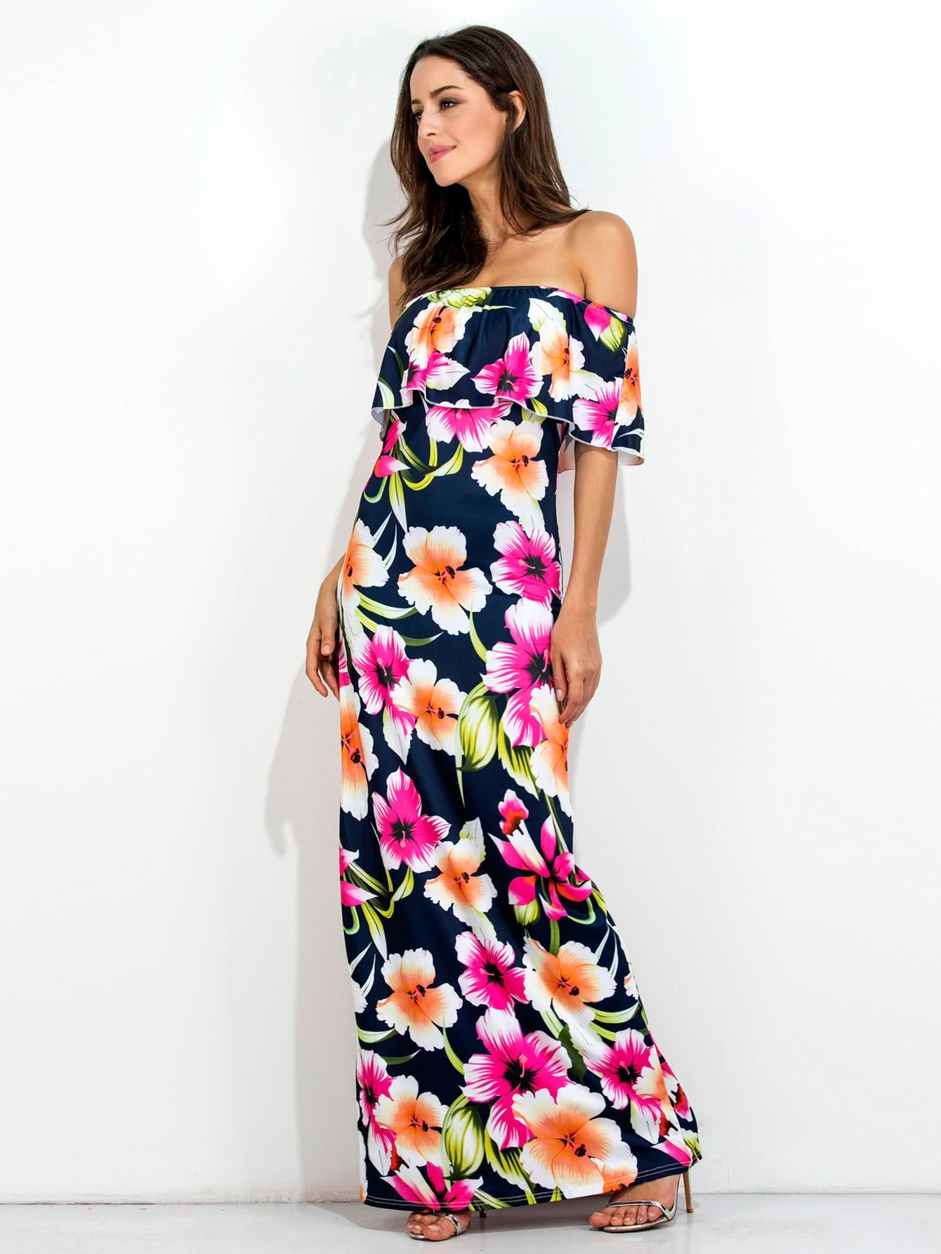 33fe683561f Navy Big Size Floral Print Layered Off Shoulder Maxi Dress