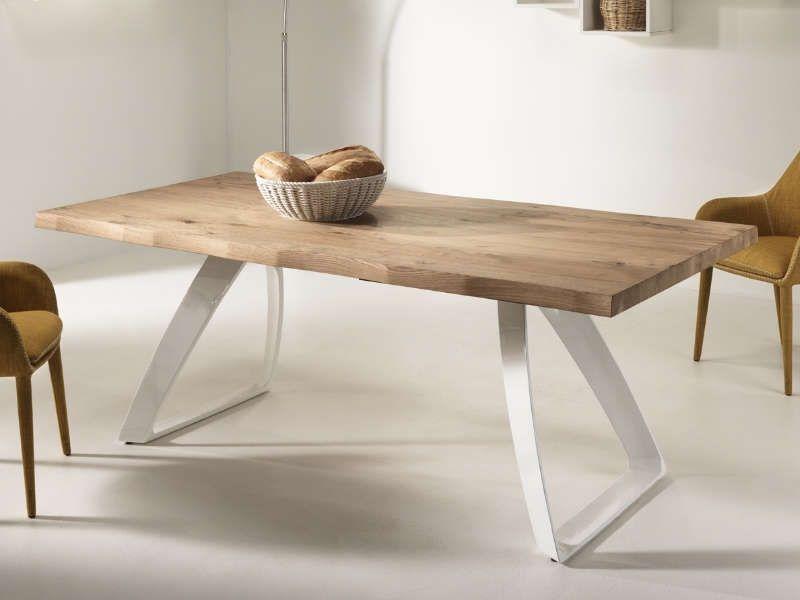 Tavolo Bridge Stones con piano in legno e base in metallo ...