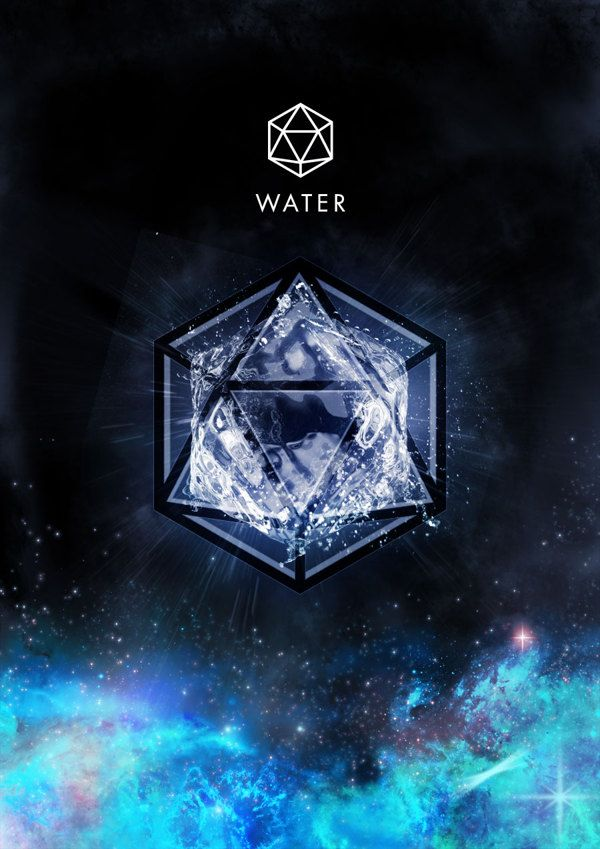 Water Element And Its Sacred Geometric Symbol Icosahedron 20