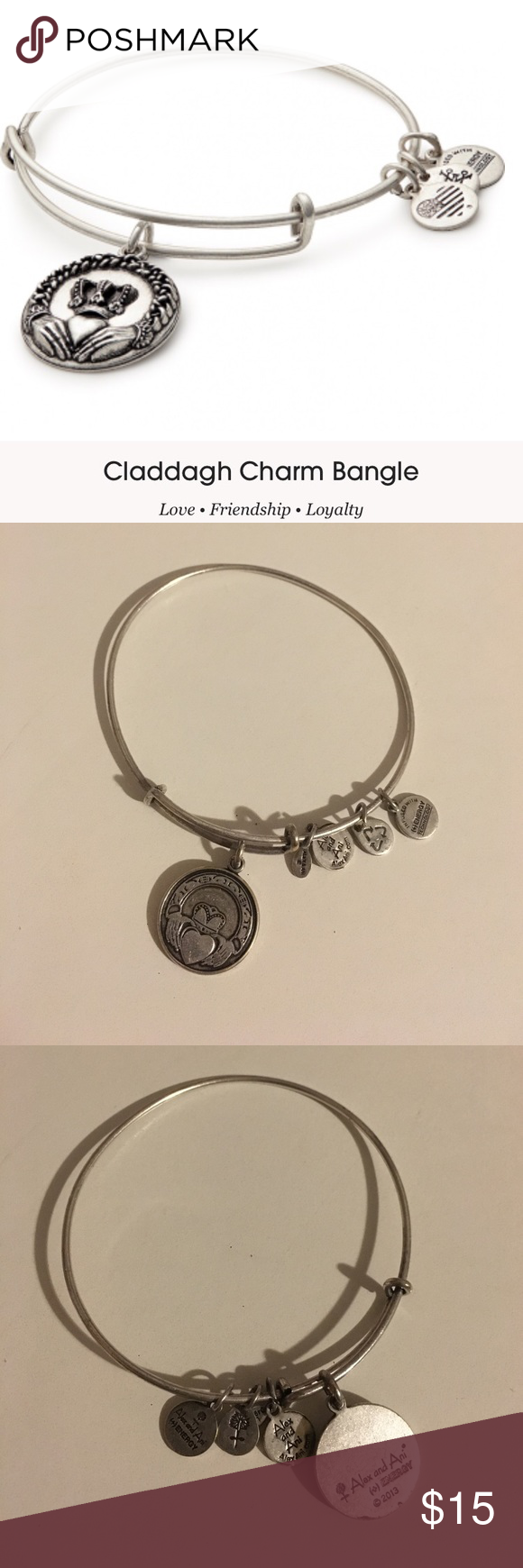 ALEX & ANI Claddagh silver charm bracelet! Rare Alex & Ani claddagh charm bracelet in silver tone. Worn a few times. Details about charm meaning in pictures! Alex & Ani Jewelry Bracelets