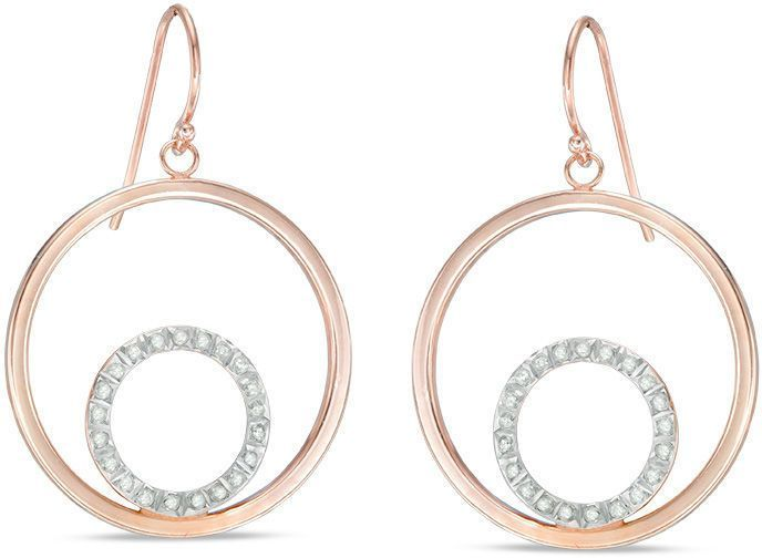 Zales Diamond Fascination Flower Hoop Earrings in Sterling Silver and 18K Rose Gold Plate rQe3AZVz4