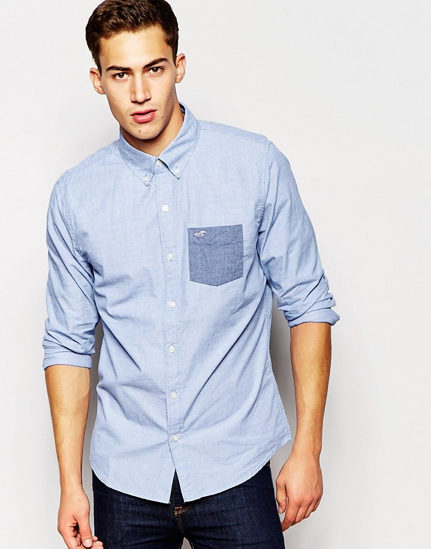 4c5ae025932 Shirt by Hollister Breathable cotton Button-down collar Button placket  Contrast chest pocket Logo applique