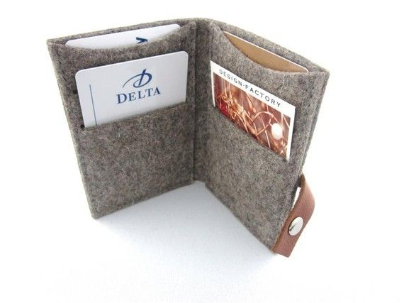 Minimalist Wallet- Business Card Holder- ID Credit Card Case - Eco Friendly grey Wool Felt - Handmade- tooled Leather