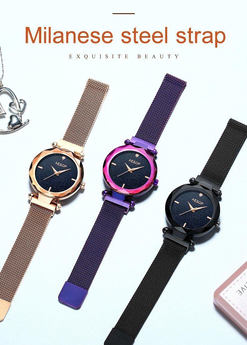 20b48efb4df3 Top Luxury OLEVS Elegant Women Watches Stars Rose Gold Mesh Full Steel  Ladies Watch With Sky Dial reloj mujer Female Watch Gift