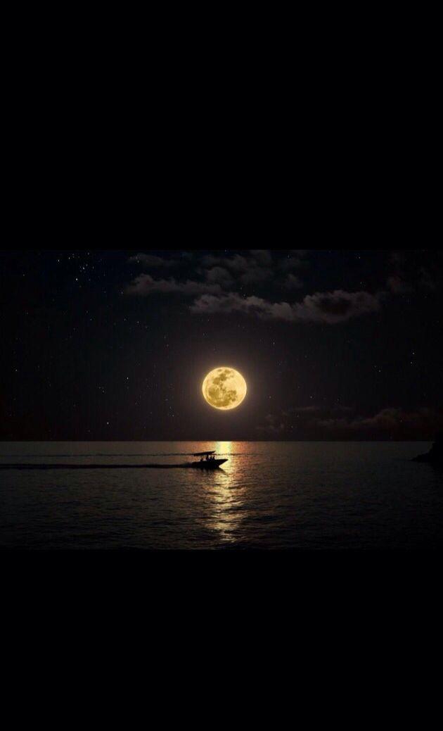 Moonlit Boat Moon Photography Beautiful Moon Moon Art