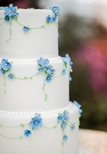 White Cake With Blue Forget Me Nots Wedding Cakes Blue Wedding Cake Inspiration Wedding Cake Designs