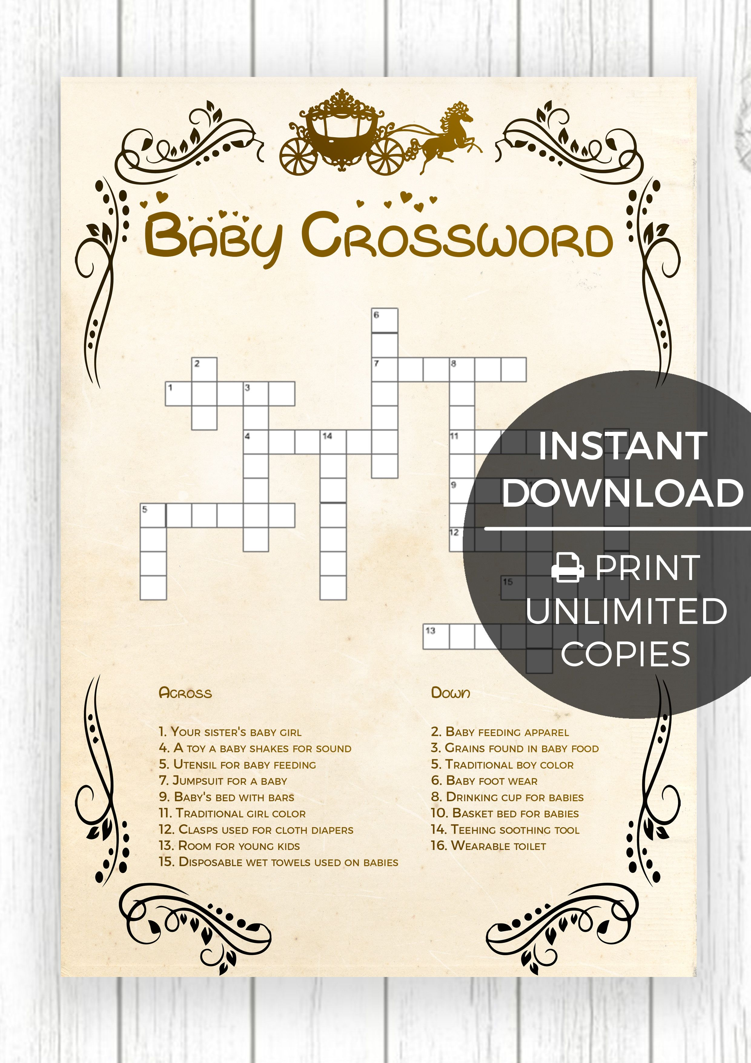 Baby Crossword Puzzle Little Princess Edition This Baby Shower Game Is Perfect For People Of