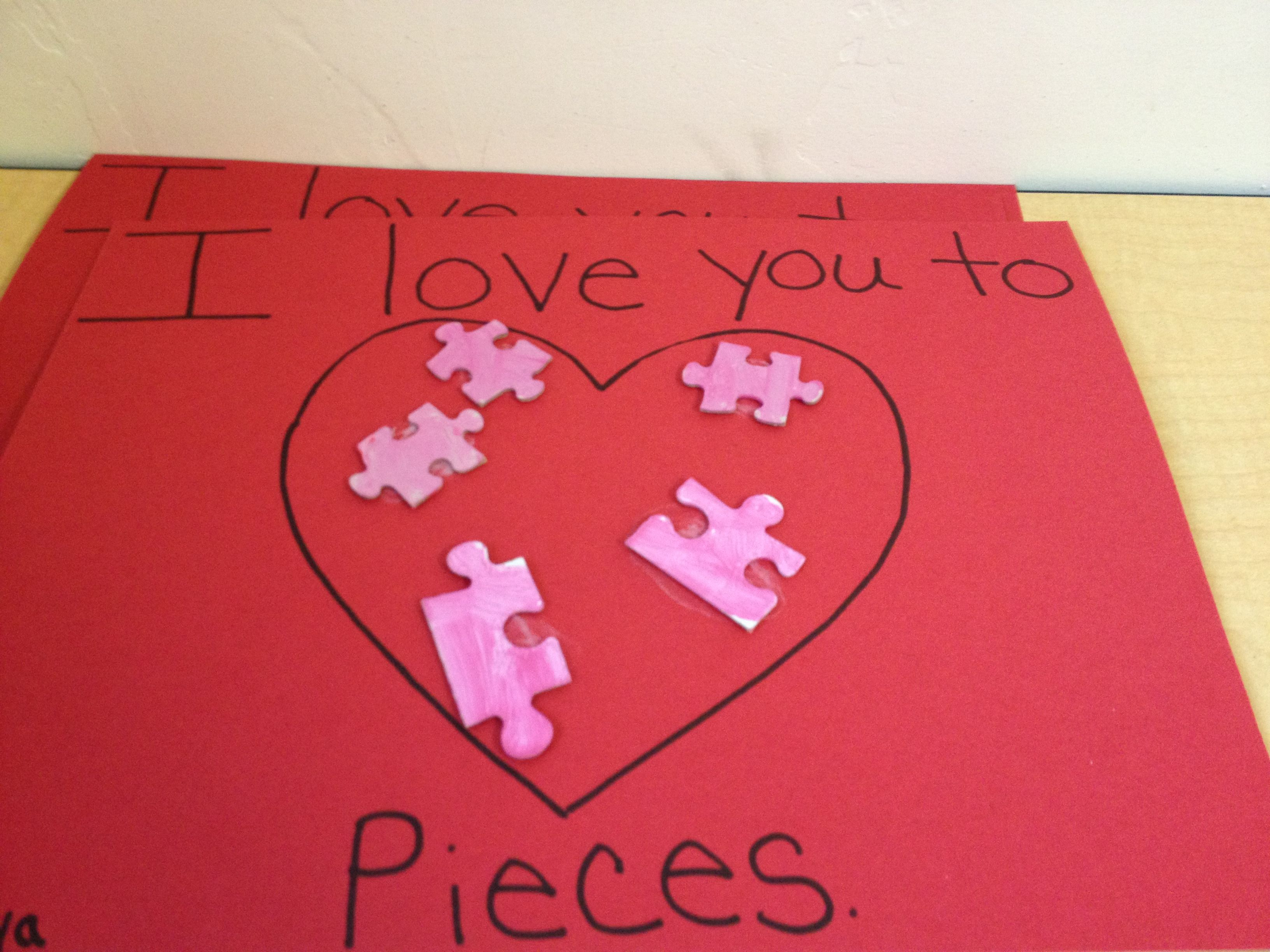 Kindergarten Valentine S Day Craft I Love You To Pieces Upcycling Puzzle Pieces