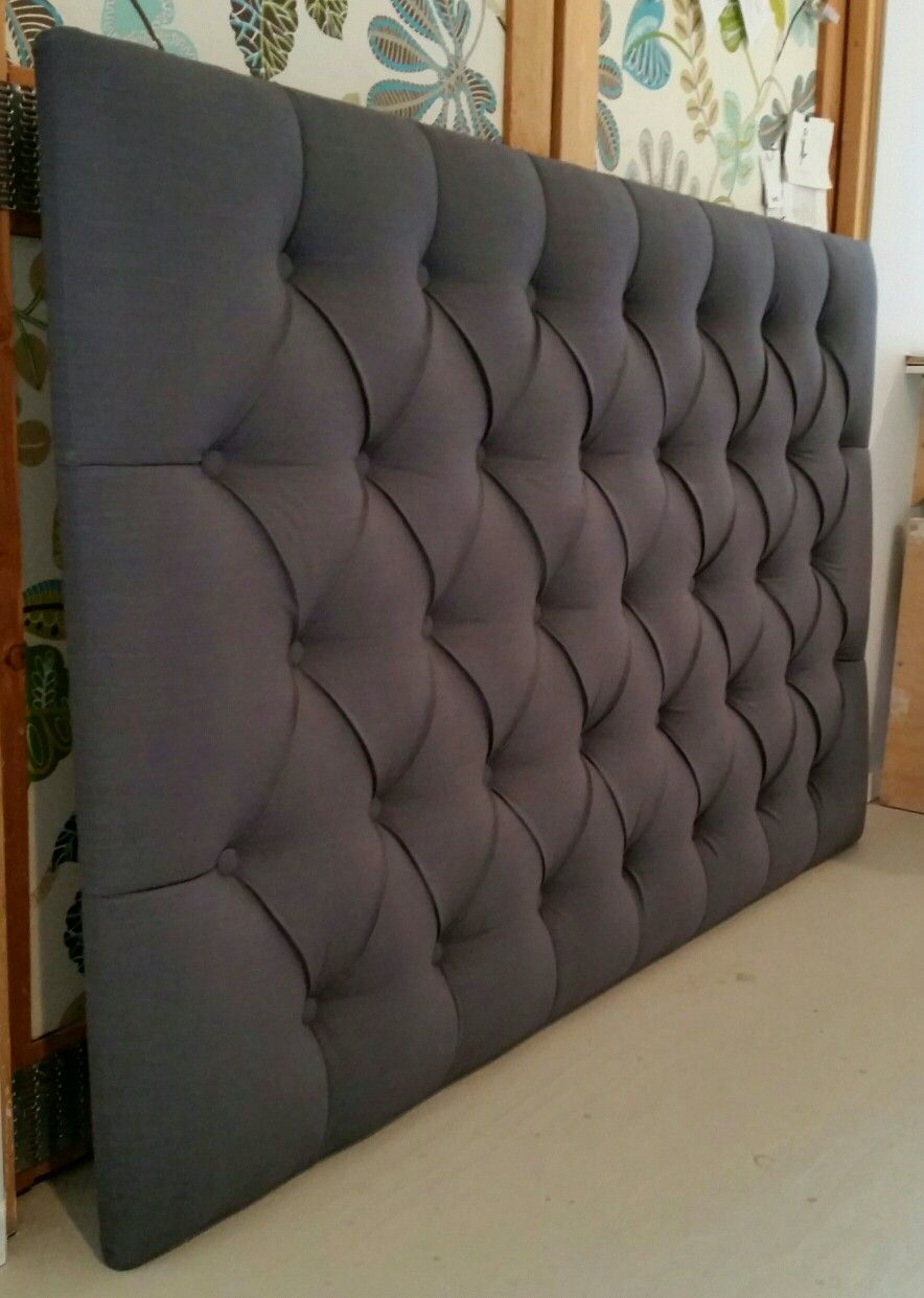 Charcoal Grey Linen Tufted Upholstered Headboard Custom Wall