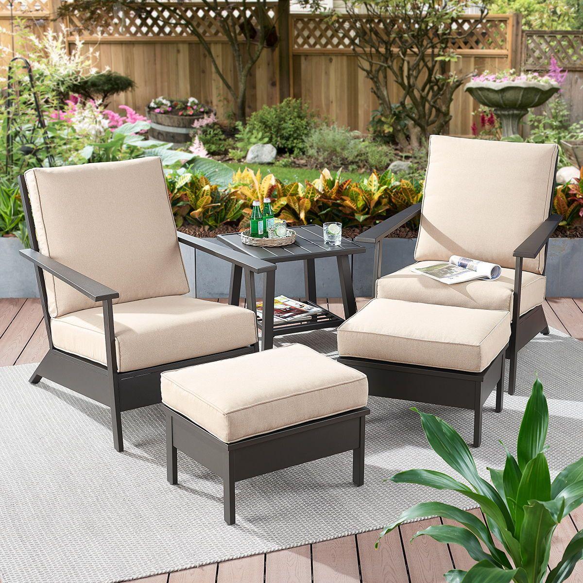 Better Homes Gardens Emeryville 5 Piece Chat Set With Beige Cushions Walmart Com Beige Cushions Better Homes Gardens Better Homes