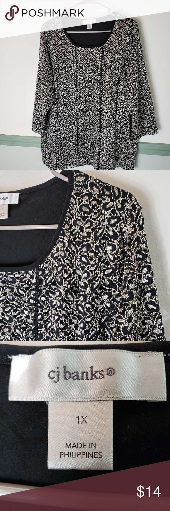 Cj Banks Fancy Blouse Sz 1x Fancy Blouses Clothes Design Blouse