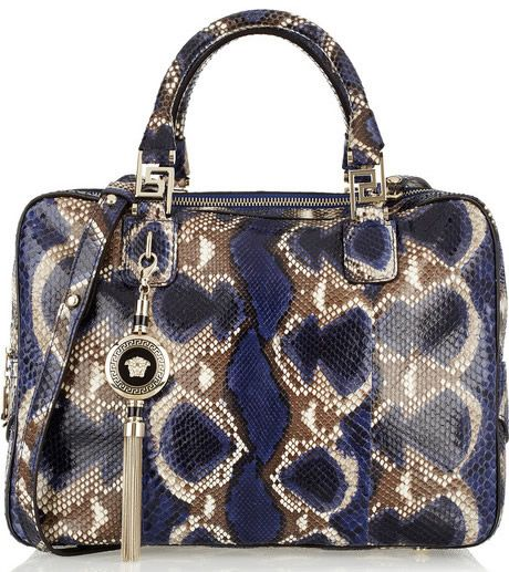 Versace Structured Snake-effect Leather Tote