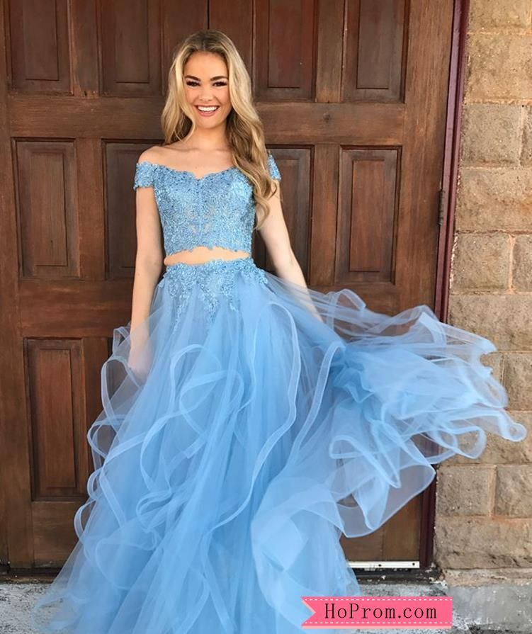 265bf56b02db Off Shoulder Lace Two Piece Prom Dress Ball Gown Multi Layered Tulle Skirt