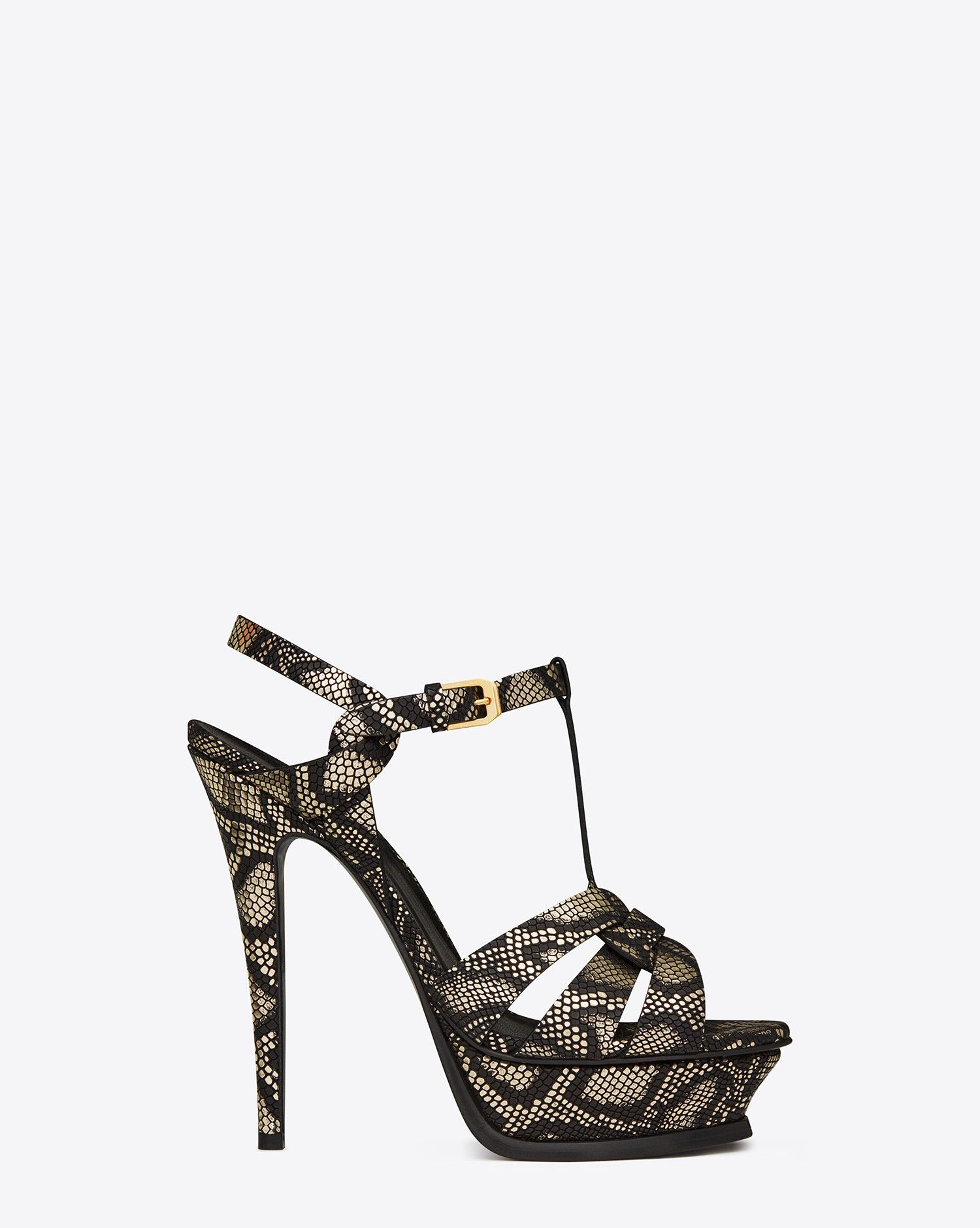 0f7072ea876 Saint Laurent Classic TRIBUTE 105  995.00 Sandal In Black And Gold Python  Embossed Metallic Leather