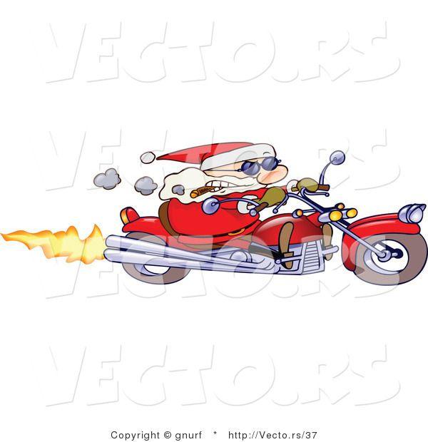 Santa Speeding On Motorcycle Santa Weihnachten