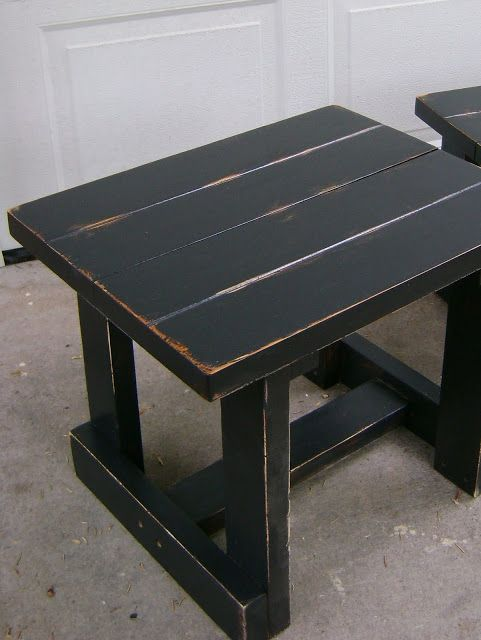 Black Distressed Coffee Table And Two End Tables Price Reduced