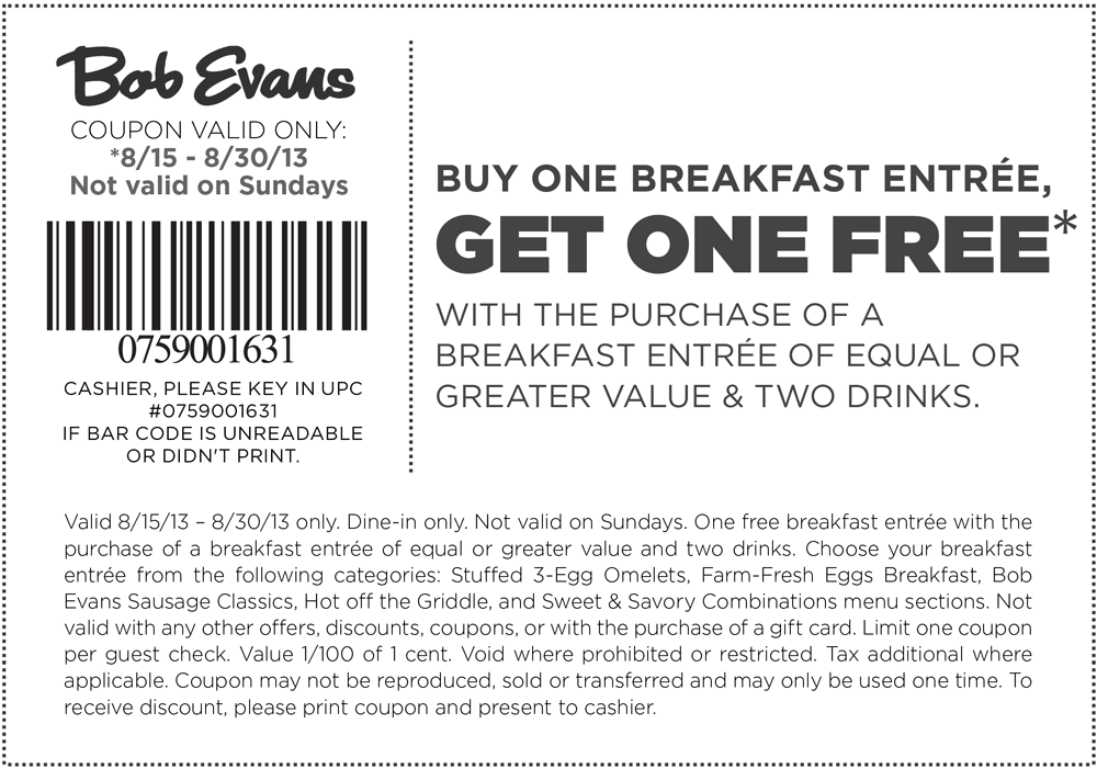 Pinned August 18th Second Breakfast Free With Your Drinks At Bob Evans Coupon Via The Coupons App Bob Evans Printable Coupons Coupons