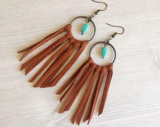 Photo of Long Leather Earrings – Boho Earrings – Leather Tassel Earrings – Gemstone Earrings – Statement Earrings – Fringe Earrings – Leather Jewelry