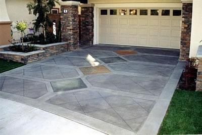 advanced diamond pattern stained concrete driveways exude creativity and design concrete art - Concrete Driveway Design Ideas