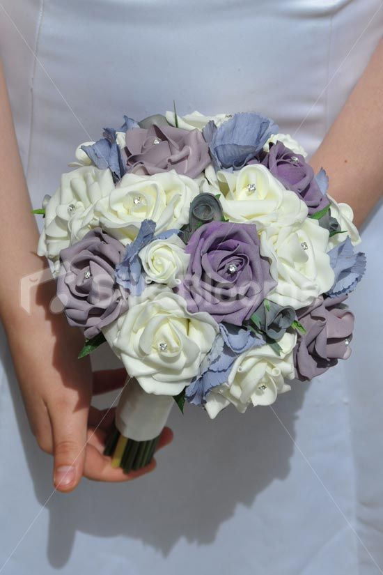 Luxurious Artificial Purple Lilac Ivory And Grey Rose And