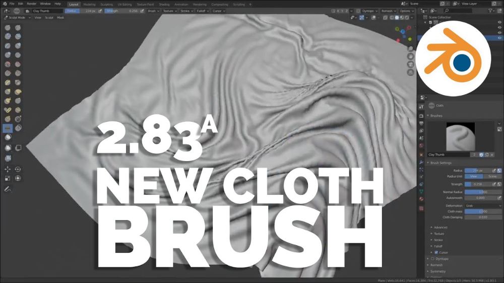 Pablo Dobarro Released An Interesting Looking New Cloth Simulator Brush In Alpha For His Blender Sculpti Sculpting Brush Blender Tutorial Travel Humor Quotes