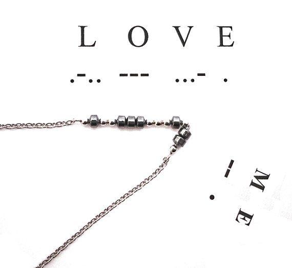 Morse code LOVE ME SIMPLICITY hematite necklace door deBATjes - morse code chart