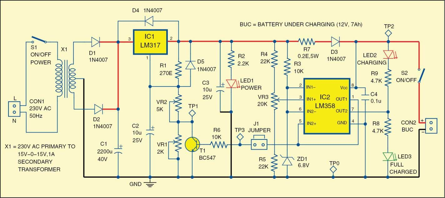 12v Battery Charger Circuit Detailed Project With Circuit Available Battery Charger Circuit Battery Charger Charger