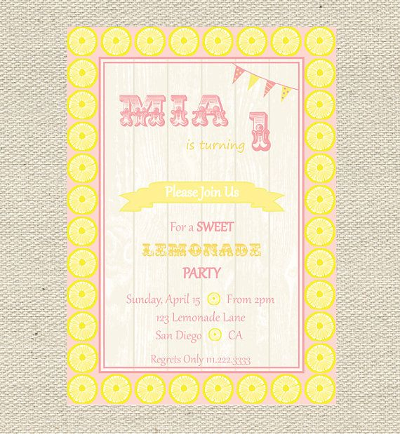 90th Birthday Party lemonaide  Invitations Wording | Lemonade Stand Birthday Invitation Printable by Giggles & Grace ...