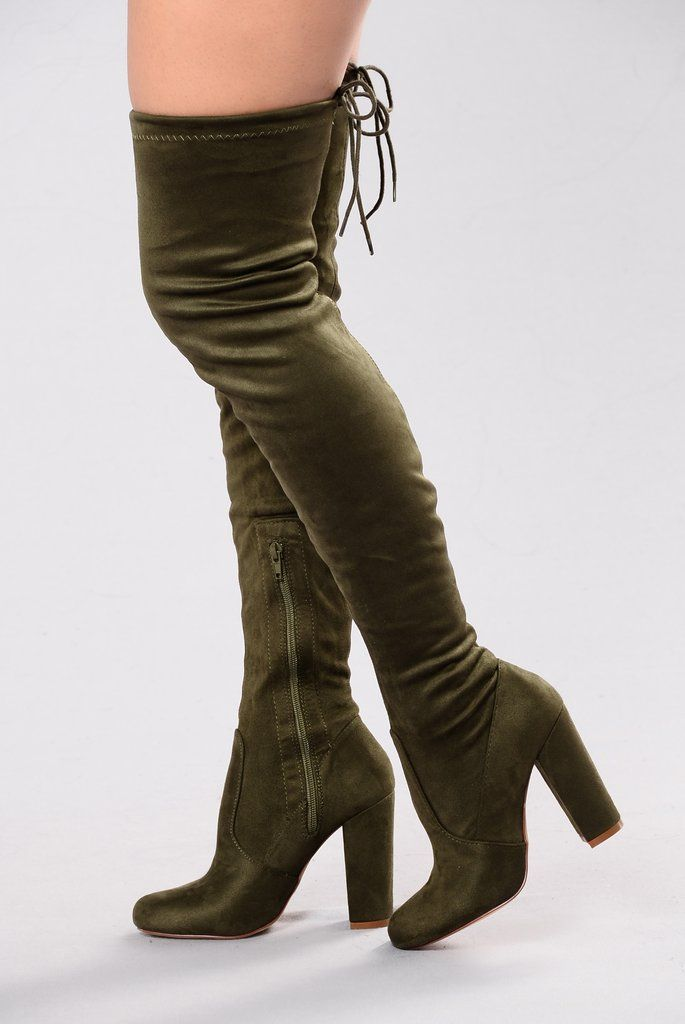 Pretty In Thigh High Boots Olive Green Thigh High Boots Thigh
