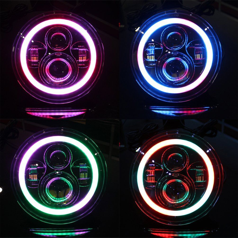 7 Multi Color Rgb Headlight With Chasing Halos Jeep Wrangler Jk