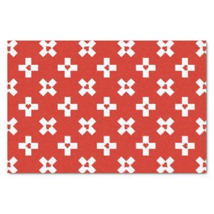 Switzerland Flag with  Heart pattern Tissue Paper - modern style idea design custom idea