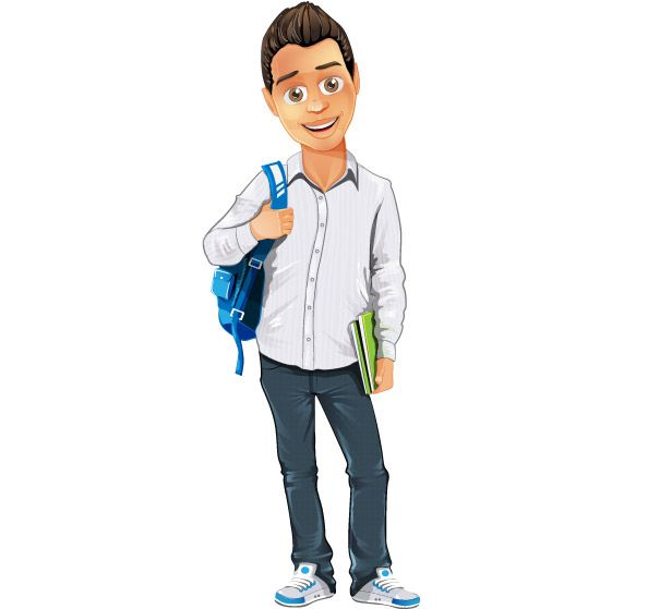 Cartoon Characters Boy : Boy vector character with bag and notepad useful for a
