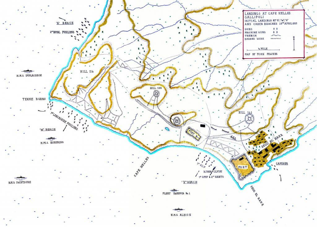 Map of initial landings 25th April 1915, at 'X' W V  Camber Beach, Cape Helles, Gallipoli