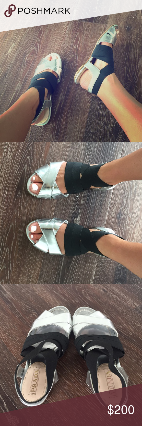 Prada Metallic Leather/ Blk Elastic Strap Sandal7M Gorgeous classic sandals in excellent condition. Extremely comfortable and great quality. No original box Prada Shoes Sandals