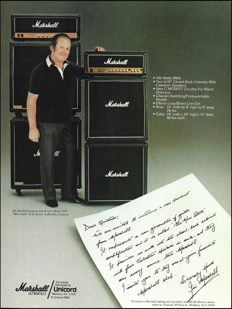 Mr  Jim Marshall 3210 mini-stack amp 1984 ad 8 x 11