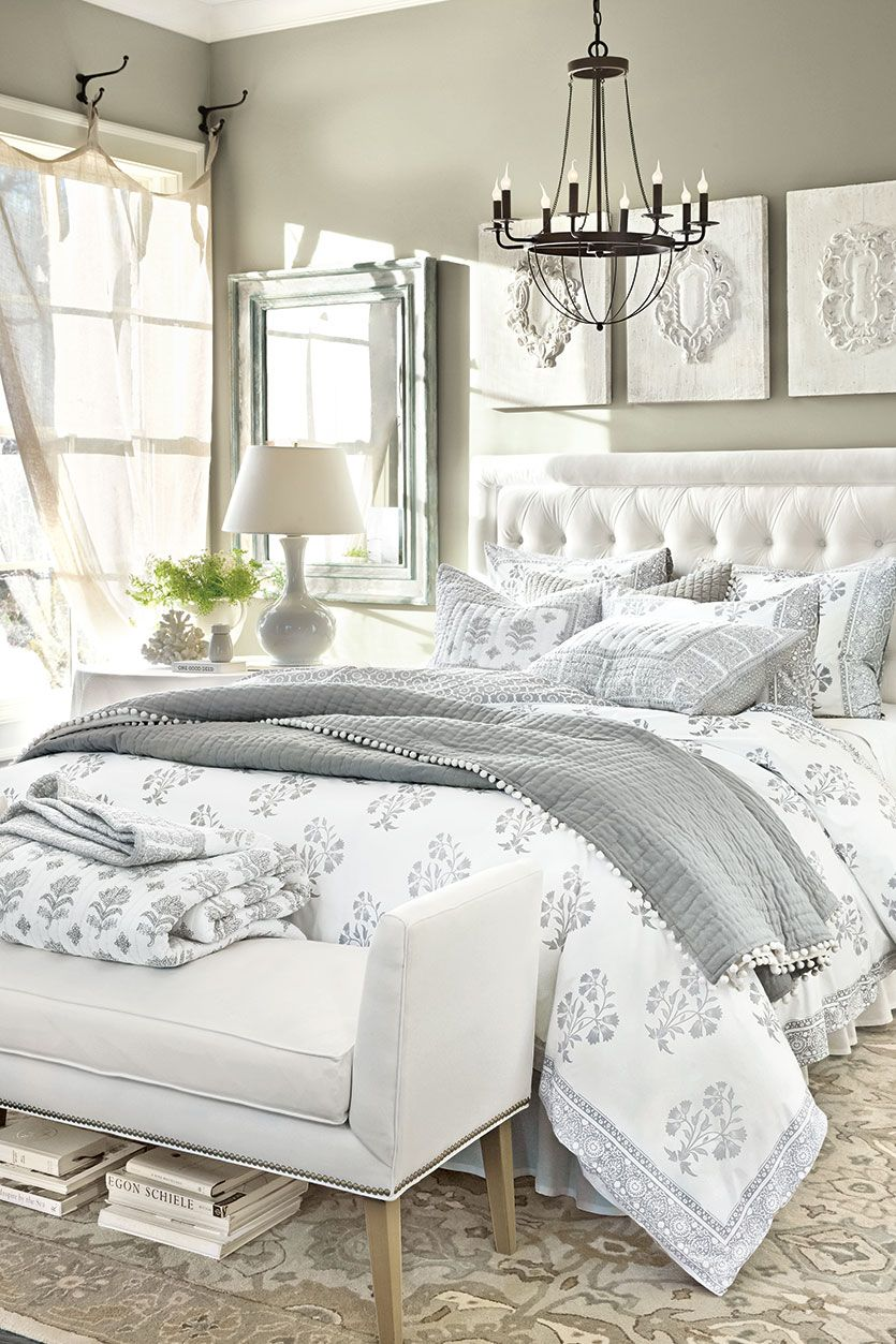 White and gray color palette in a neutral bedroom