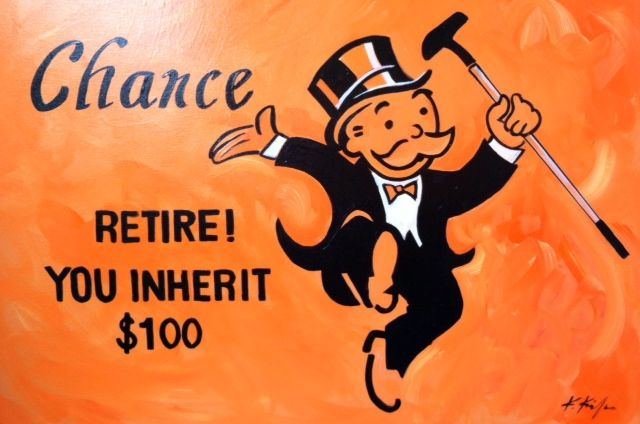 www.codagallery.com | Chance Retire by Kathleen Keifer | Acrylic on Canvas #monopoly #boardgames #fineart