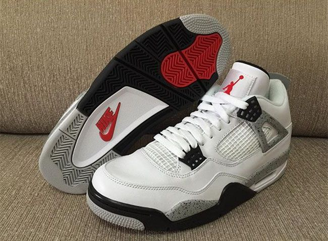 e267b595 ... release date another look at the air jordan 4 white cement with nike  air branding for