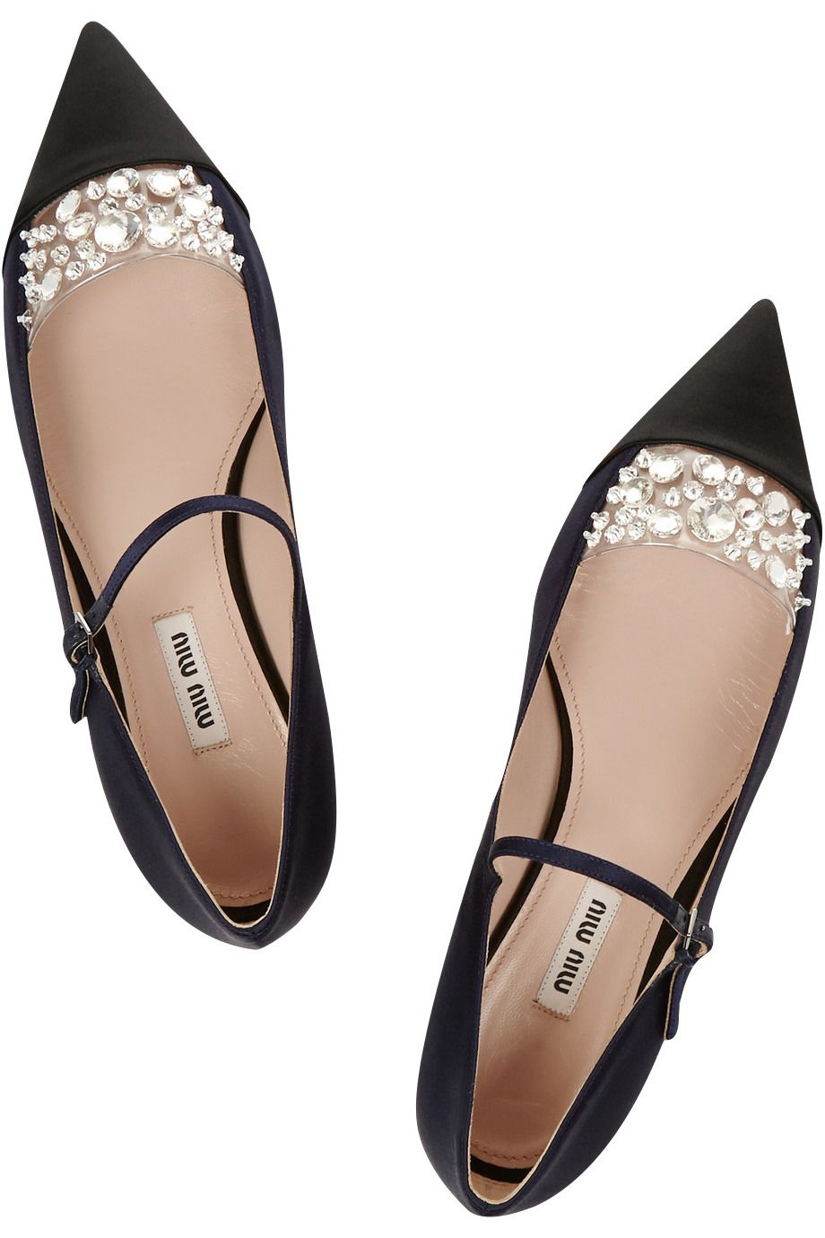 63eed37f1bd8b Miu Miu Crystal Embellished Satin Pointed Toe Flats.