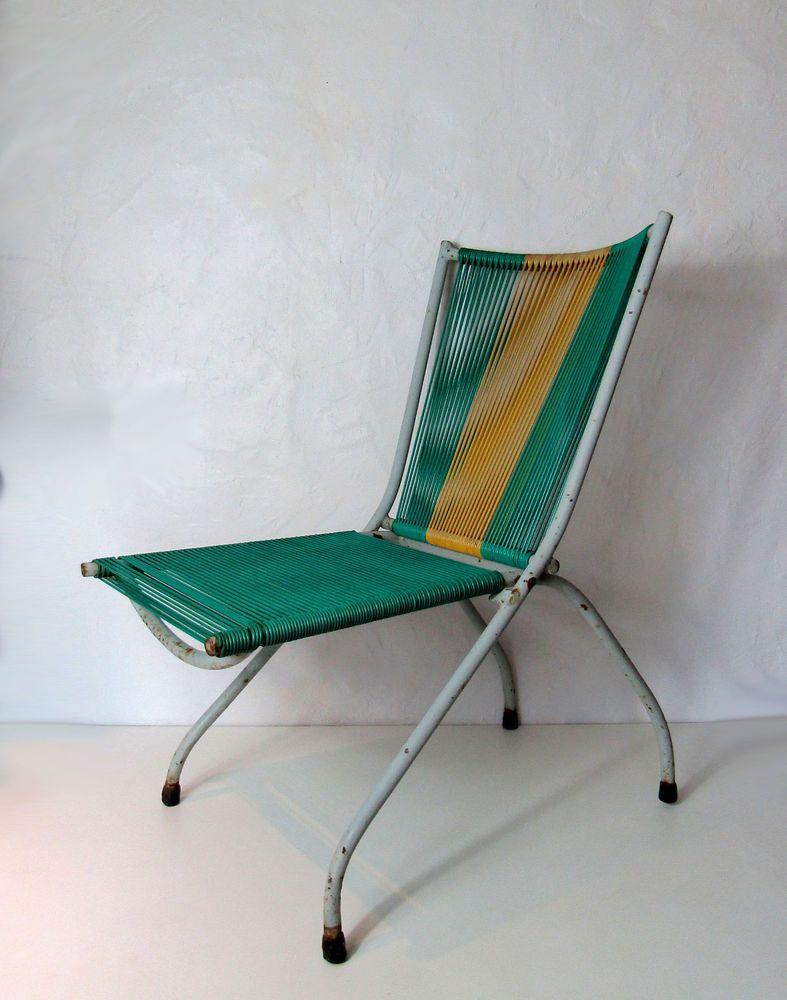 Chaise fauteuil pliant scoubidou et m tal tube vintage 70 - Chaise scoubidou vintage ...