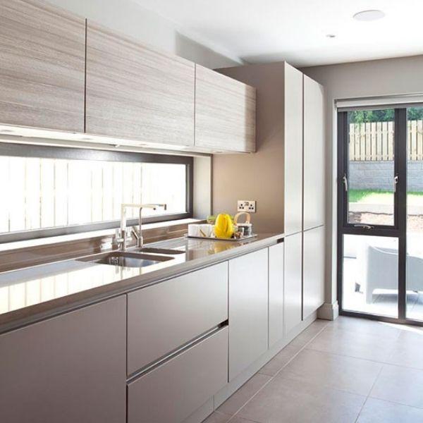 Grau Porzellan-Flächen Küchenschränke-moderne gestaltung Küche - bilder wohnzimmer moderne gestaltung