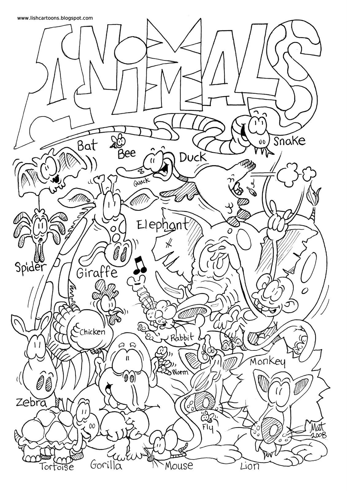 Coloring Pages Zoo Animals Page