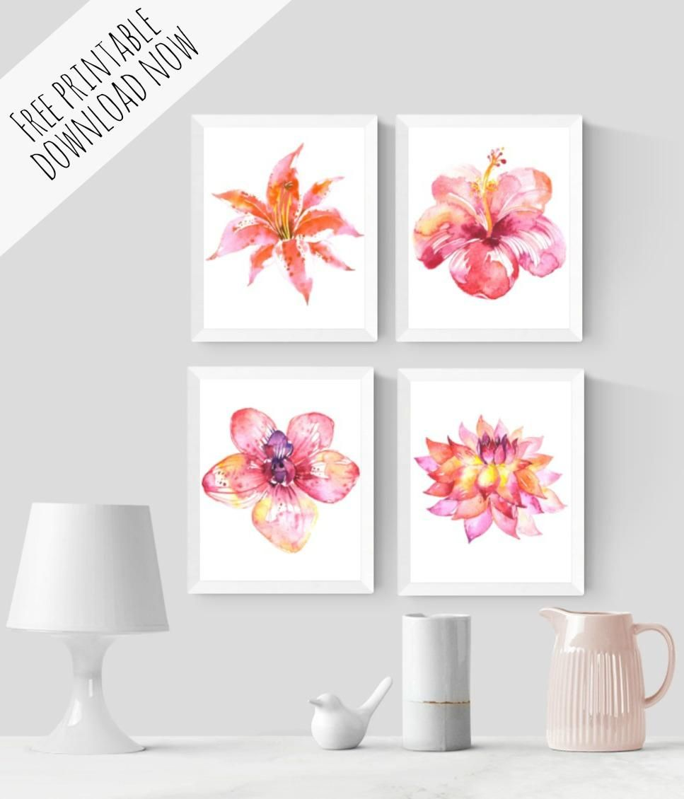 watercolour flowers wall art free printable | free printables